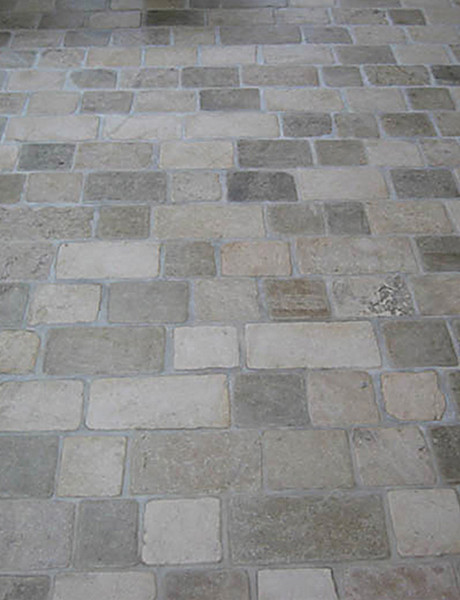 Limestone Tumbled Cobblestone Pavers traditional-floor-tiles
