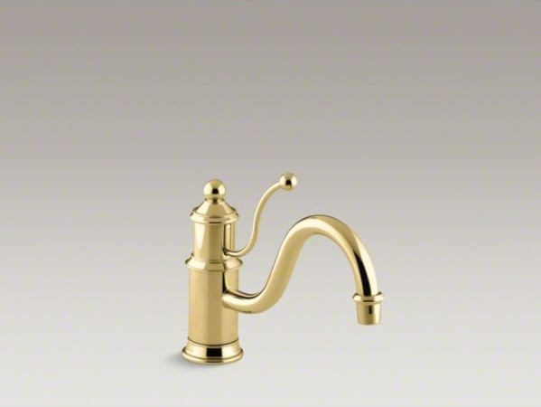 "KOHLER Antique single-hole kitchen sink faucet with 8-7/8"" spout and lever handl contemporary-kitchen-sinks"