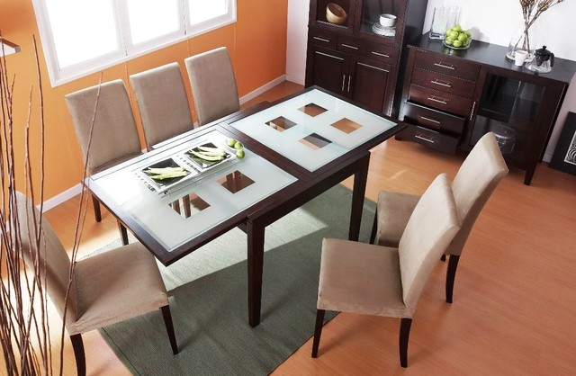 Frosted Glass Top Table And Four Chairs Contemporary Dining Tables