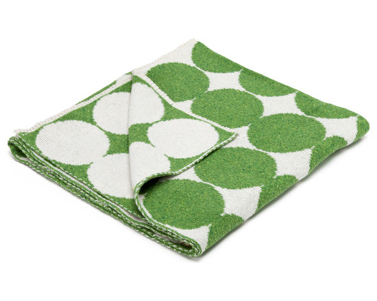 "in2green - Eco Baby Dots Reversible Throw, Milk/Avocado - Our throws are all knit in the USA with a blend of recycled cotton yarn (74% recycled cotton yarn, 24% acrylic, 2% other), generously sized at 50"" x 60"" and machine wash and dry...how easy is that!"