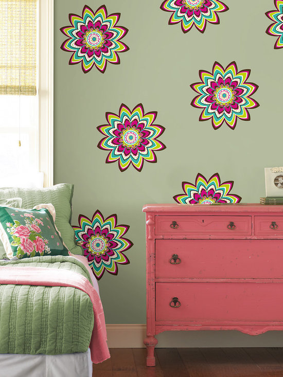 "Zsa Zsa Dots Set of Wall Decals - An explosion of pink brown teal and limon flowers with pink green and diamond gem embellishments, Zsa Zsa works great in a kid's room. This pack contains twelve 13"" Zsa Zsa dots. WallPops are repositionable and always removable."