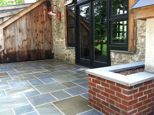 Doylestown Raised Patio And Brick Planters Farmhouse Philadelphia