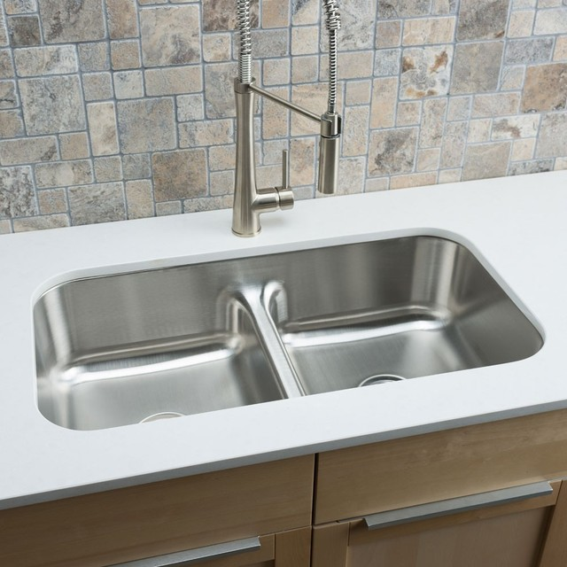 Designer Stainless Steel Sinks : ... Stainless Steel Low-divide Equal Double-bowl Kitchen Sink contemporary