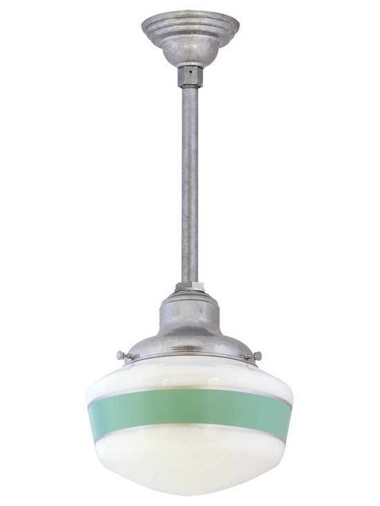 Primary Schoolhouse Pendant - The schoolhouse pendant light you love, with more styling options! Add personality with a custom stem or colorful hand-painted bands on the opal glass globe.
