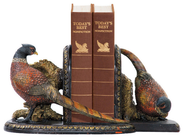 Sterling Industries 91-3722 Sterling Pair Of Autumn Pheasants Bookends contemporary-bookends