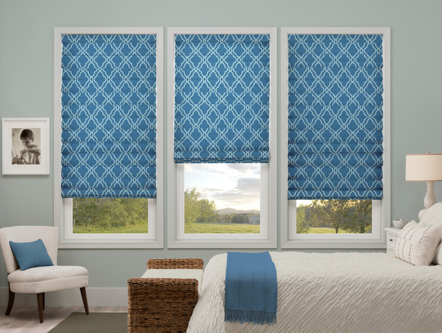 Waverly roman shades hampton trellis sky roman shades for Hamptons style window treatments