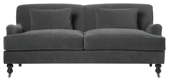 "Beaumont Classic English Rolled Arm Pewter Gray Condo Sofa - 72"" transitional-sofas"