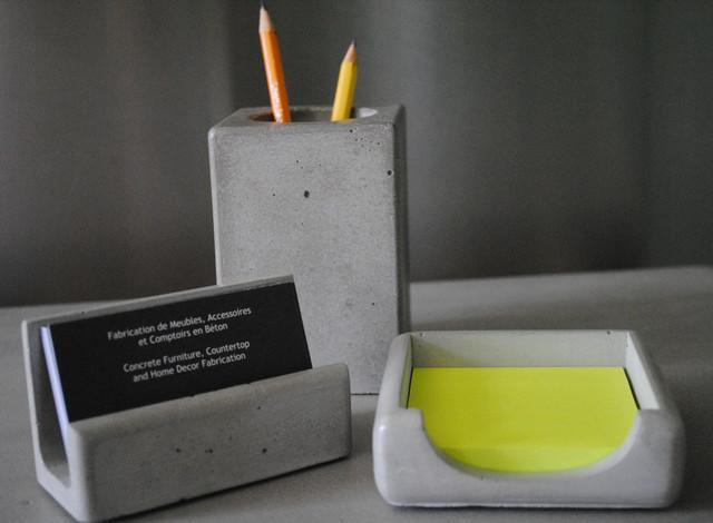 Concrete Office Series Contemporary Desk Accessories