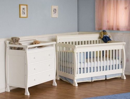 Kalani Two Piece Convertible Crib Set with Toddler Rail in White modern