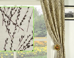 Grey Plants embroidery Pleated 100% Silk Curtain Panels modern-curtains