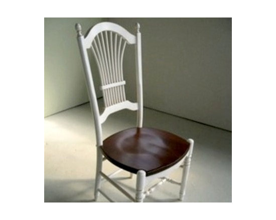 White Fan Back Wood Chair With Brown Cherry Seat - Made by http://www.ecustomfinishes.com