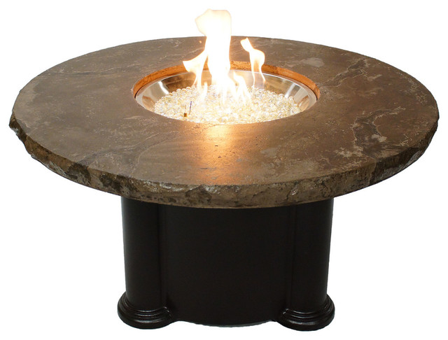 Dining Height Fire Pit Table With Noche Top Traditional Fire Pits