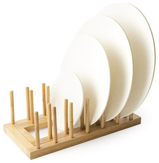 Expandable Bamboo Plate Rack 2 Ct - Contemporary - Dish Racks - by ...