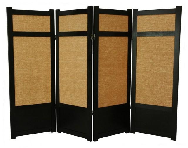 Low Jute Shoji Screen in Black w Woven Panels asian-screens-and-room-dividers