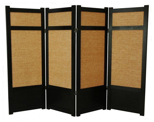 Low Jute Shoji Screen in Black w Woven Panels asian screens and wall dividers