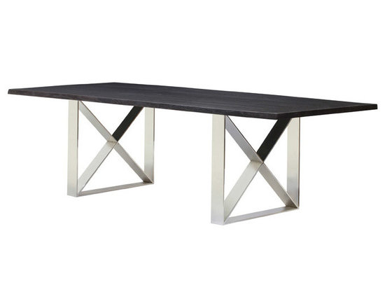 Aix Dining Table - Aix is a contemporary dining table made out of stainless steel bases and seared oak or oxidized grey oak tops. Aix can be used for home or contract sectors. Dimensions: 78 x 40 x 29½; 96 x 40 x 29½; 112 x 44 x 29½ (inches).