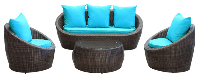 Avo Outdoor Wicker Patio 4 Piece Sofa Set in Brown with Turquoise Cushions modern-outdoor-lounge-sets