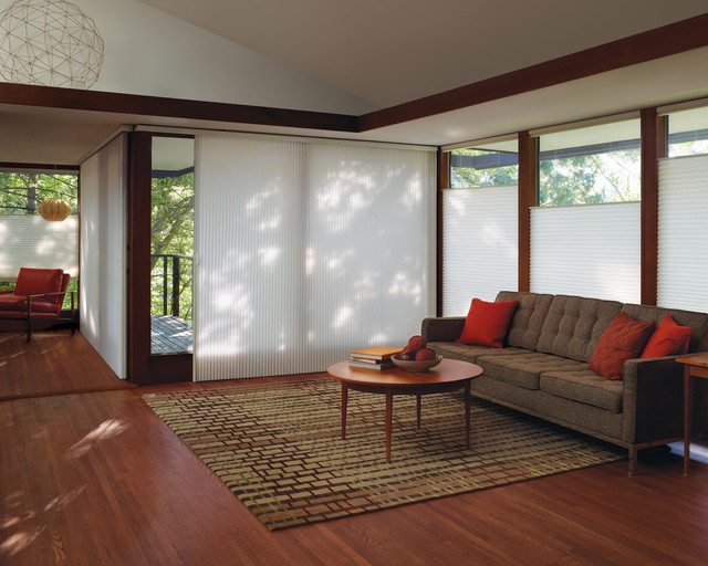 Beautiful Living Room with Honeycomb Shades - Top Down Bottom Up cellular-shades