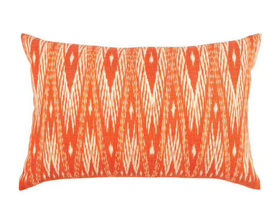 John Robshaw - Mandarin Decorative Pillow design by John Robshaw. This is an orange, hand-woven, cotton Ikat pillow from the John Robshaw collection.