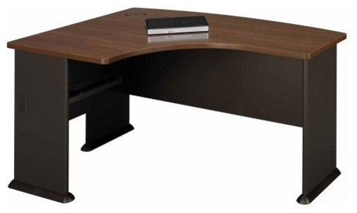 Bush A-Series Left L-Bow Desk in Sienna Walnut and Bronze contemporary desks