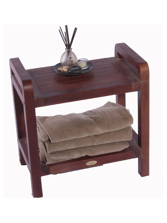 Hudson Reed - Hudson Reed Ergonomic Teak Spa Stool with Shelf and Lift Aide Arms - Featuring an elegant yet practical design this high quality Ergonomic solid teak stool with shelf and Lift Aide arms will really help to enhance the overall look of your spa-style bathroom. This solid teak stool features a useful storage shelf for spare towels or toiletries as well as Lift Aide arms to make getting off the stool much easier.  Constructed from solid teak to ensure of long lasting use this durable Ergonomic stool has a unique stain that penetrates deep into the wood. This stain will resist mildew and mold which makes this comfortable stool perfect for use in a bathroom environment.  Dimensions: 20 length x 13 width x 18 height.
