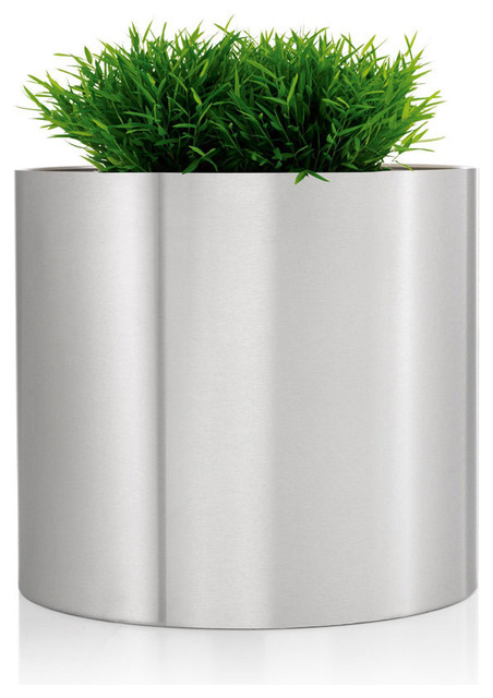 Greens Round Stainless Steel Planter Contemporary Outdoor Po