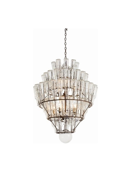 Arteriors Canton Iron/Glass 9 Light Chandelier - Canton Iron/Glass 9 Light Chandelier