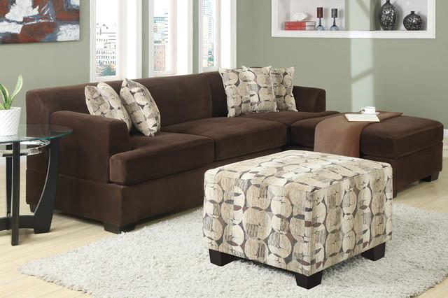 Modern small chocolate velvet sectional sofa reversible for Ava chaise lounge
