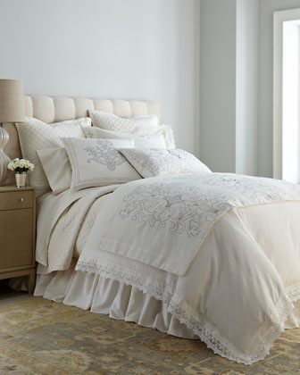 """Queen Duvet Cover with Lace Flange, 96"""" x 98"""" traditional-duvet-covers-and-duvet-sets"""