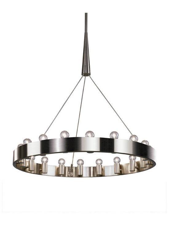 Robert Abbey - Robert Abbey Rico Espinet Candelaria Brushed Nickel Chandelier - Rico Espinet's Candelaria Collection for Robert Abbey features a brushed nickel 18 light chandelier with edison style bulbs.