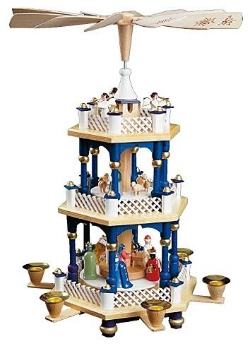 Three-tier Blue Nativity Pyramid - Christmas Decorations traditional-holiday-decorations