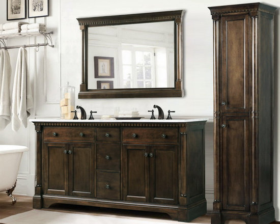 High Quality Bathroom Vanities - This High Quality Bathroom Vanities stunning old world bathroom vanity is constructed using solid wood. It features a solid Carrera White Marble countertop. Plenty of storage is complimented by an optional matching mirror and linen cabinet.