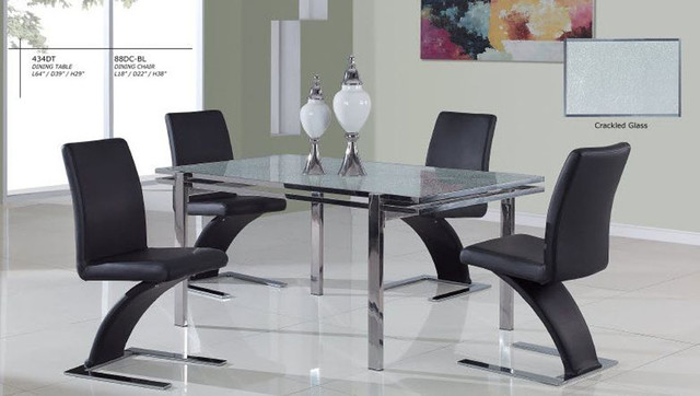 Luxurious round glass top 5 piece kitchen set with chairs for Modern kitchen table