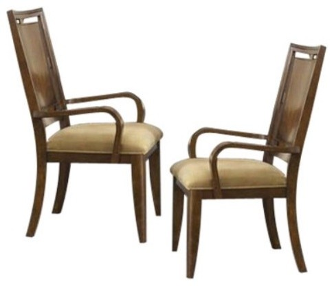 Skyline Wood Back Dining Arm Chairs - Set of 2 traditional-dining-chairs