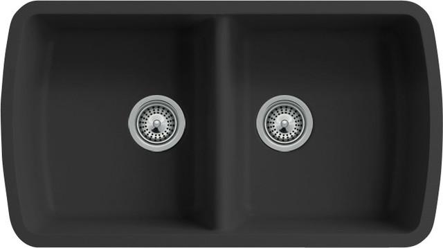 Black Quartz Composite Double Bowl Undermount Kitchen Sink - Modern ...