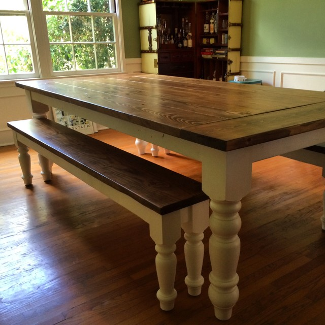 Country Farmhouse Dining Table With Oversized Spun Legs
