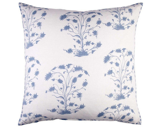 """John Robshaw - Turmeric Light Indigo Euro design by John Robshaw. """"I added these prints into our fabric line and Meredith our fabric line boss lady agreed to share them with us in bedding. A top seller in our ever so exquisite fabric collection, Rabari has now been invited into the home collection."""" - John Robsaw"""