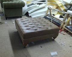 Leather Diamond Tufted Ottoman eclectic-footstools-and-ottomans