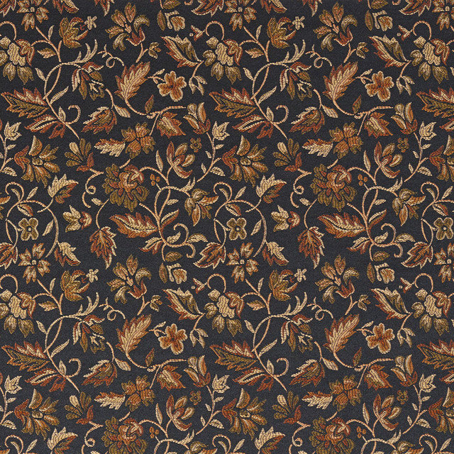 Black Gold Green Orange Floral Damask Upholstery And Drapery Fabric By The Yard Traditional