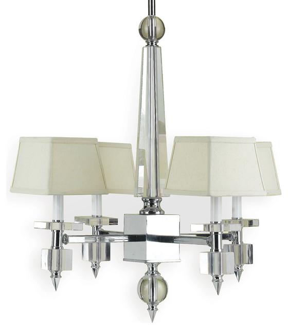 Cluny Modern Hollywood Regency Chrome Crystal 4 Light Chandelier - L transitional-chandeliers
