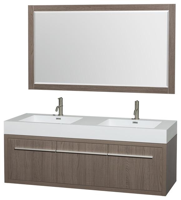 Axa Wall Mounted Double Bathroom Vanity Gray Oak 60 Inch