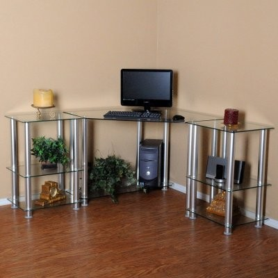 RTA Home and Office CT-013205 NEW Clear Tempered Glass Corner Computer Desk with modern-desks-and-hutches