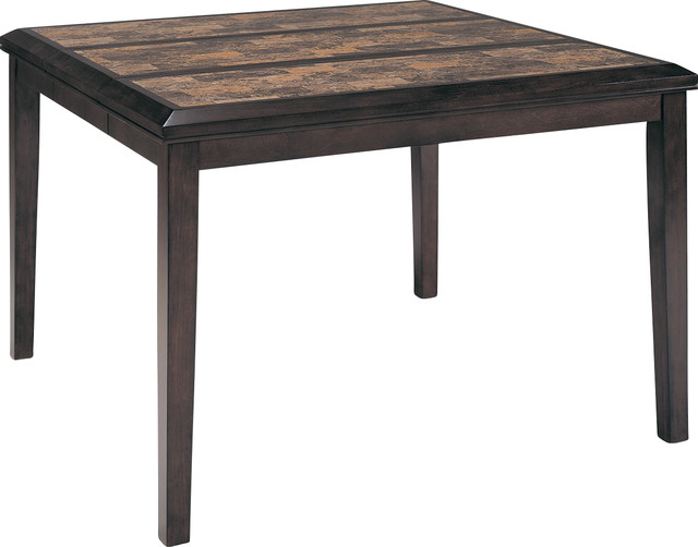 Homelegance belvedere square counter height table with for Traditional dining table for 8