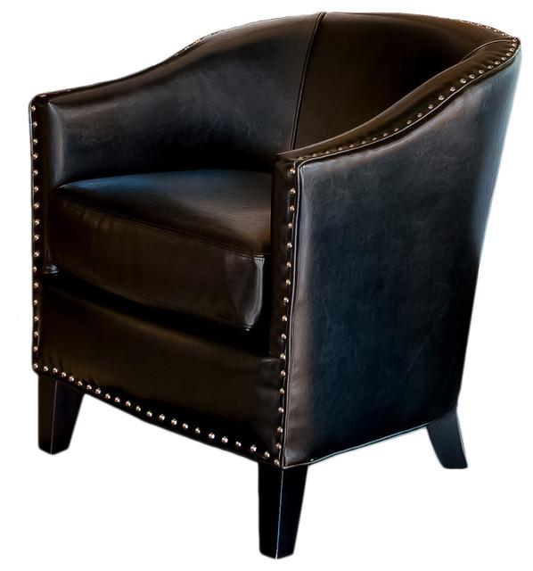 Black Leather Tub Design Club Chair Modern Armchairs