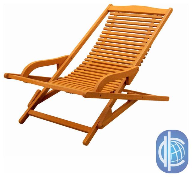 International Caravan Royal Tahiti Yellow Balau Hardwood Lounge Chair Conte