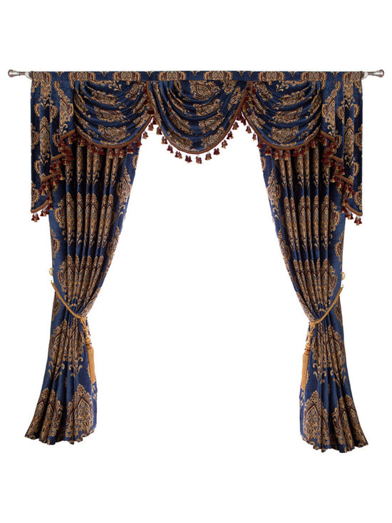 """Ulinkly.com - Luxurious window curtain - Blue Sea, 100""""*96"""", 2 Panels - This price includes 2 panels and valance, each panel is 100""""/96"""", 100% Chenille."""