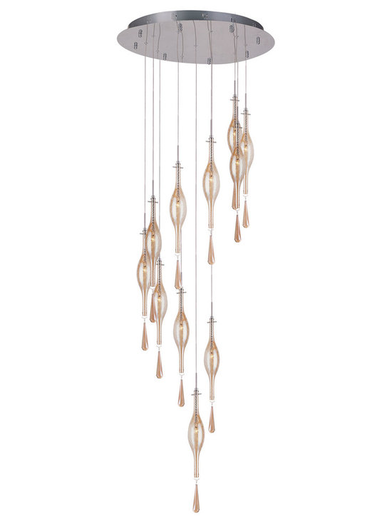 Golden Teak Long Eleven Drop Pendant by Trans Globe