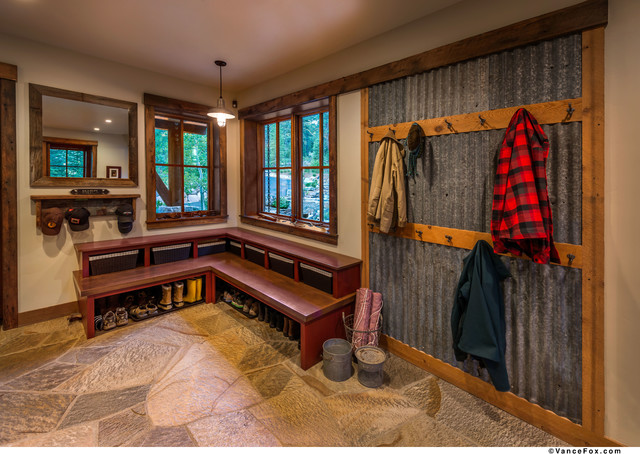sustainable mountain home rustic laundry room