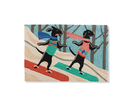 Grandin Road - Whiteboarding Mat - Door mat depicting 2 dogs as snowboarders. Handcrafted from high-performance polyacrylic fibers. Low-profile design slips easily beneath most doors. Who wouldn't love to hit the slopes with the two handsome pooches depicted in our colorful Snowboarding Mat? Ideal for the dog owner, or anyone who can just appreciate an imaginative touch of canine-inspired whimsy at an entryway, in a mudroom, basement, and more. Delightfully designed with two dogs sporting their own winter scarves and snowboards.  .  .  . Imported.