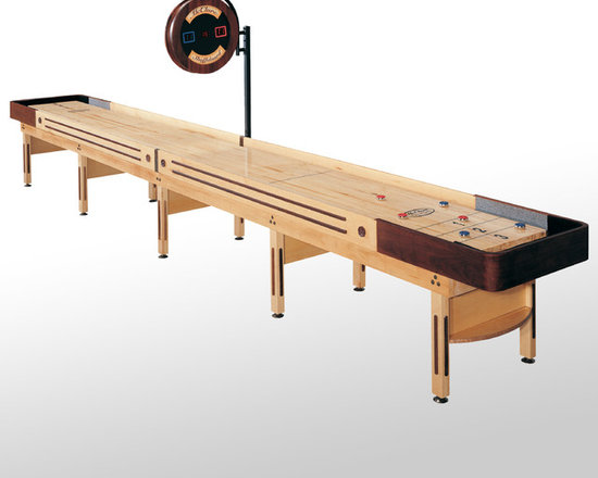 22' Natural Finish Prestige Shuffleboard Table - The Prestige shuffleboard table is a classic shuffleboard model and makes the perfect furniture for a transformed garage or man cave. Made using American walnut and hard maple wood, the Prestige is reminiscent of the original American shuffleboard table design from the late 1940s. The table starts with a true horse collar made from a single piece of wood strengthened with several layers. We then steam-bend them with a final layer of solid American walnut wood. The cabinet and legs are made from solid select Michigan maple, and the trim also comes from all-American walnut in order to bring out the table's natural beauty. We offer the Prestige shuffleboard table in a beautiful natural or Cognac finish, to further bring out the contrasting tones of the American maple and natural walnut wood.